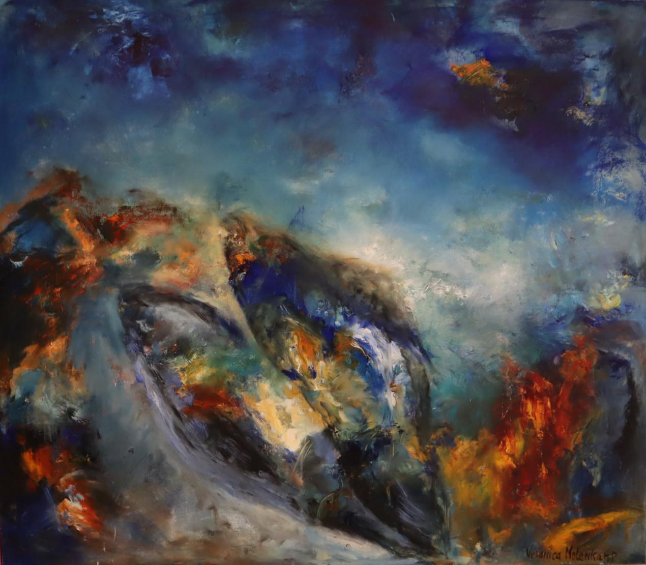 Gestrand aan de vloedlijn (120 x 140)